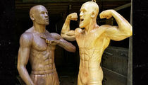 Floyd Mayweather and Conor McGregor Finally Face Off ... As Wood Statues (PHOTO GALLERY)