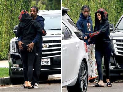 Travis Scott Grabs Kylie Jenner's Ass Outside His L.A. Home (PHOTO GALLERY)