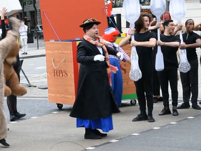 James Corden Performs as Mary Poppins for Crosswalk Musical in London (VIDEO)