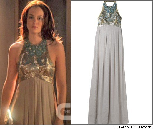 Though Blair A K Leighton Meester Didn T Have To Pay For This Stunning Silver Silk Halter Matthew Williamson Dress Out Of Her Own Pocket The Show