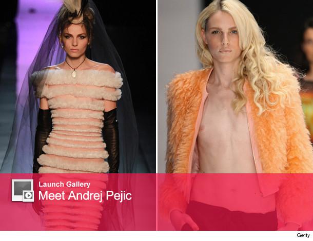 Male Model Andrej Pejic Poses In Women's Swimwear