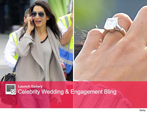 0fa2b9511fcde George Clooney's Fiancee Amal Alamuddin Flashes Giant Engagement ...