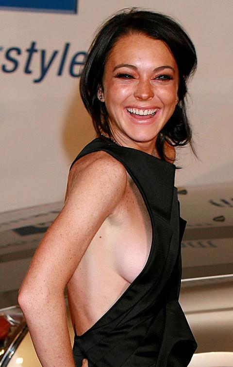 Lindsay lohan side boob apologise, but