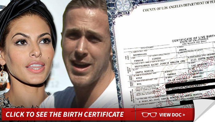 Ryan Gosling and Eva Mendes -- Baby's Name Revealed ...