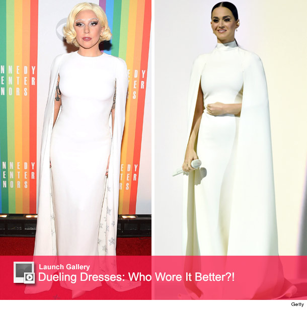 c08dd9d638263 Kim Kardashian Flaunts Baby Bump In Same Cape Dress as Katy Perry ...