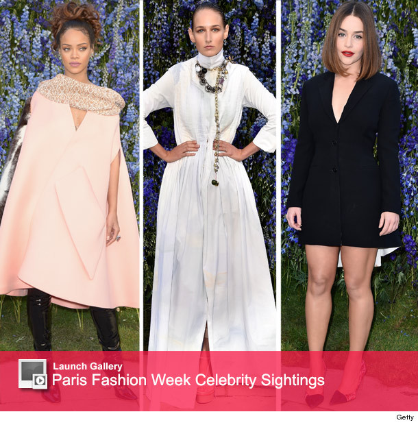 67a7fbdbbbdd Rihanna Goes Glam at Dior s Paris Fashion Week Show -- But WTF Is ...