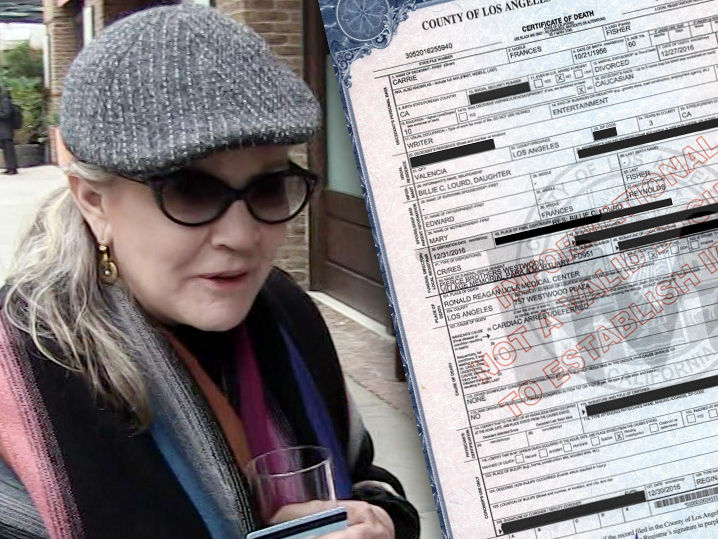 Carrie Fisher S Death Certificate Released Tmz Com