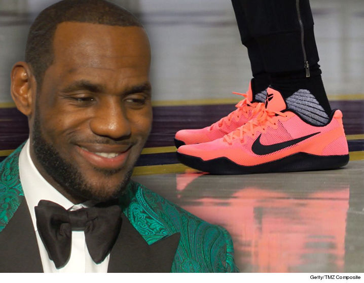 LeBron James is turning to Kobe Bryant for a little help in the NBA Finals- rockin the Mamba's signature Nike shoes in preparation for Game 3