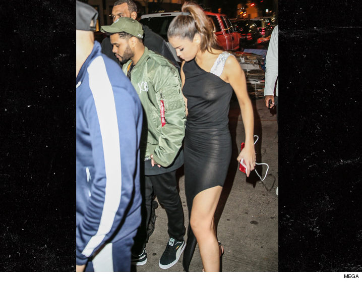 Looks Like The Only Support Selena Gomez Is Getting These Days From Her Bf Weeknd Based On Braless Shots Of Leaving Dinner In Nyc
