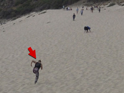 Ronda Rousey Training on Crazy Sand Dunes in Malibu