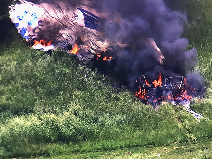 Blimp Catches Fire And Crashes at the US Open