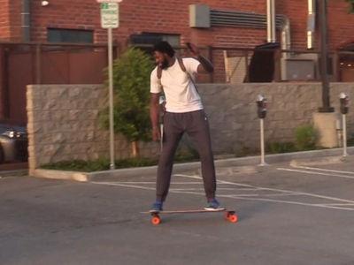 DeAndre Jordan Tempts Fate Riding Skateboard In L.A.