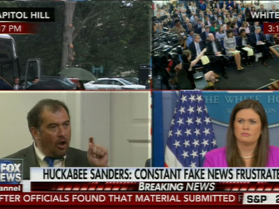 Dep. White House Press Sec. Sarah Huckabee Sanders Clashes with Reporter Over 'Fake News'