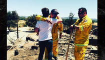 'Big Bang' Star Johnny Galecki Hugs, Thanks Firefighters