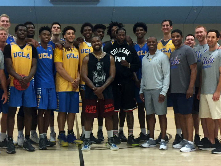 Kanye West and 2 Chainz Meet UCLA Men's Basketball Team During Team Practice