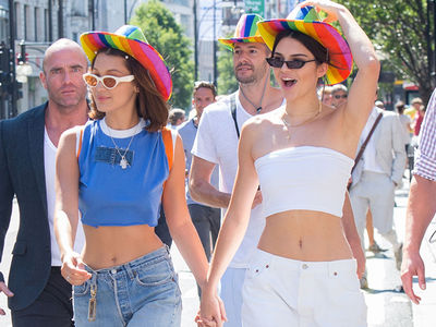 Kendall Jenner and Bella Hadid Wear Rainbow Cowboy Hats at Pride Parade in London