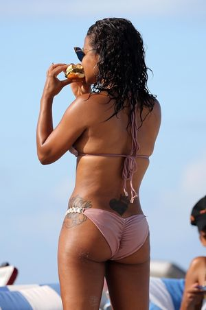 Christina Milian & Karrueche Tran in Miami -- Cheeseburgers in Paradise