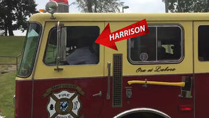 James Harrison Arrives to Camp in a Fire Truck!