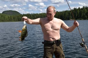 Vladimir Putin fishes during a mini-break in the Siberian Tyva