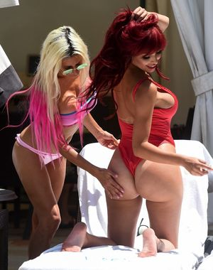 Farrah Abraham and Frenchy Morgan show off their bikini bodies poolside in Vegas
