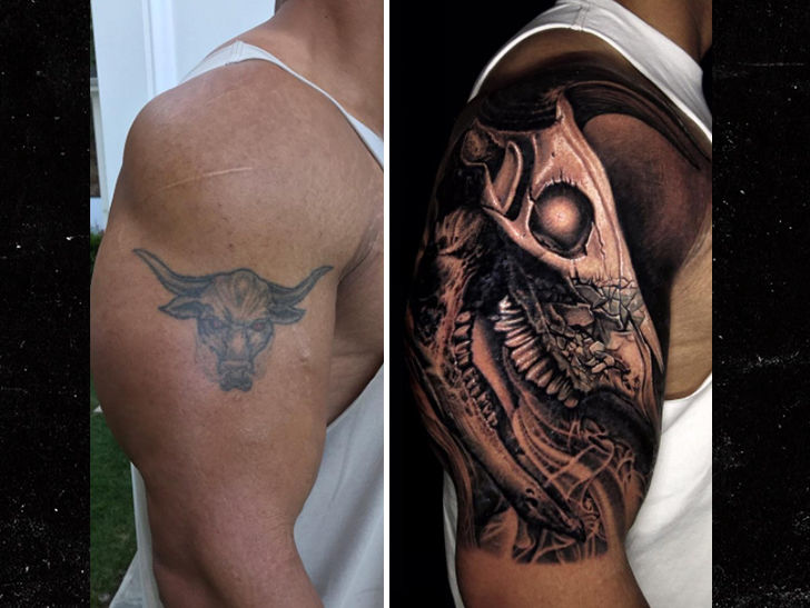 the rock covers up iconic bull tattoo with bigger bull tattoo. Black Bedroom Furniture Sets. Home Design Ideas