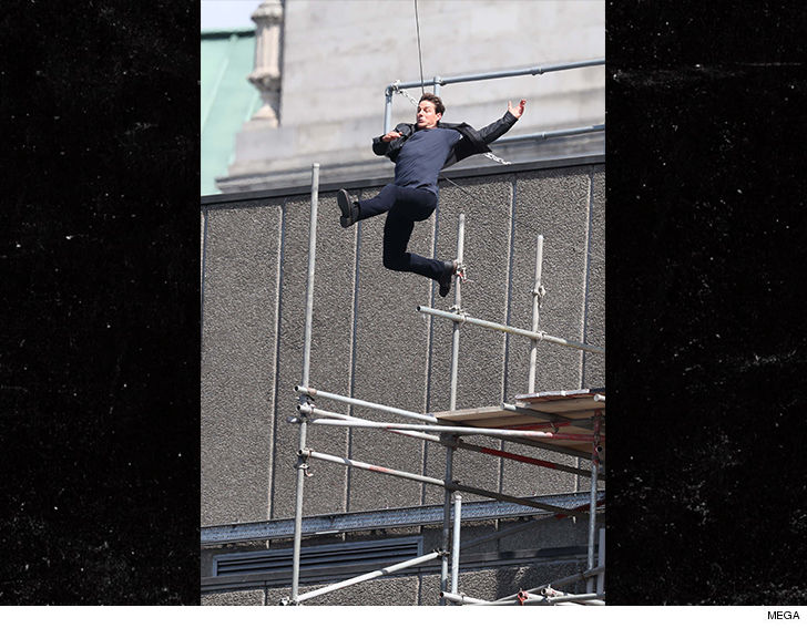 Tom Cruise slamming into brick wall during failed action stunt