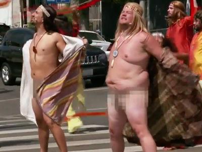 "Corden and Lin-Manuel Miranda STRIP for Nude ""Hair"" Performance -- In a CROSSWALK!"