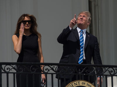 President Trump Stares Directly at Solar Eclipse Without Glasses, Despite Ivanka's Warning
