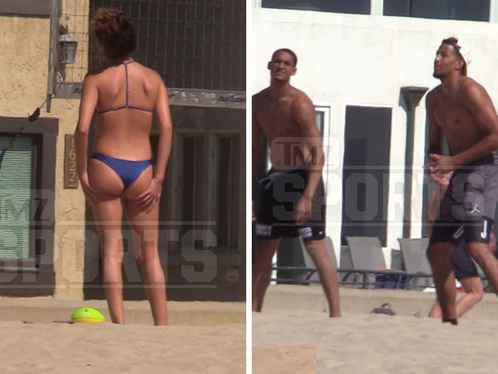 Jordan Clarkson and Andre Roberson Play Volleyball with Hot Girls in Thong Bikinis