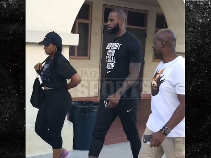 LeBron Trains at L.A. High School, Wife Scopes Campus