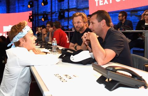 Justin Bieber, David Spade, and Adam Sandler