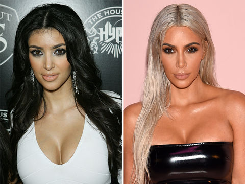 Kim Kardashian -- 2007 (left) and 2017 (right)