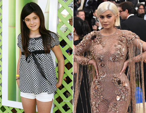 Kylie Jenner -- 2007 (left) and 2017 (right)