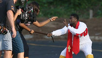 Kevin Hart Gets A Whipping in Chicken Costume On Set of New Movie