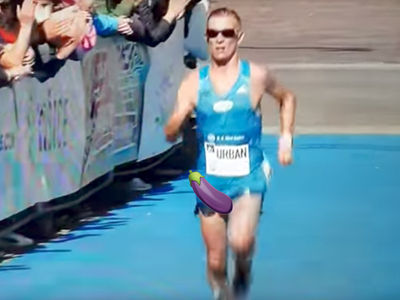 Marathon Runner Goes Balls Out During Race In Slovakia