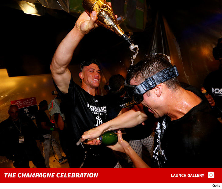 Aaron Judge Goes Champagne Crazy After Yankees Wild-Card