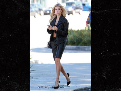 Hailey Baldwin Fights Warm Bev Hills Weather with All Leather Outfit