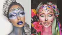 Aubrey O'Day's Freaky Halloween Face Paint -- See the Crazy Cosmetics!