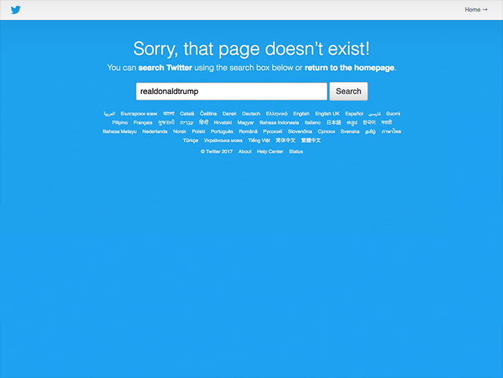 Trump's Twitter account temporarily disappeared