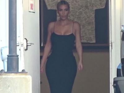 Kim Kardashian Touches Down for Serena's Wedding