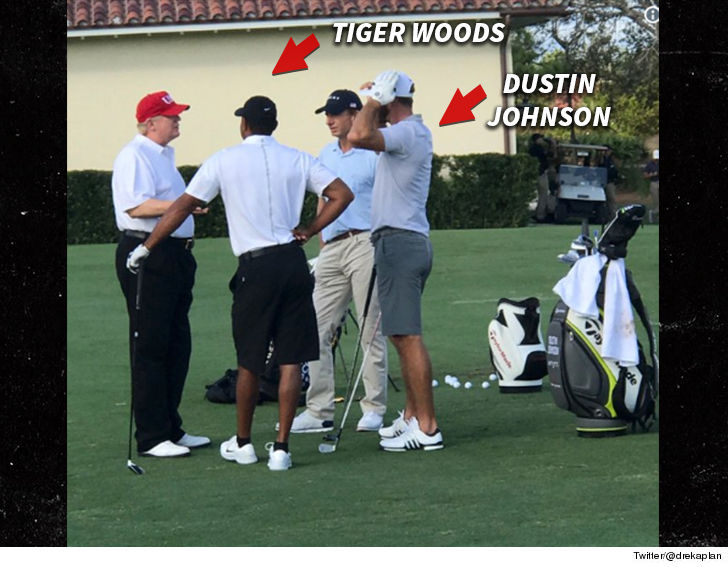 President Trump tees off with Tiger Woods, Dustin Johnson