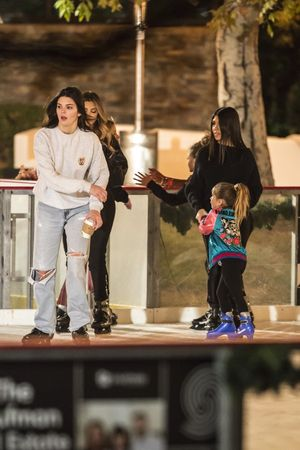 Kourtney Kardashian and Kendall Jenner  at the Ice Rink