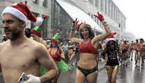 Boston Santa Speedo Run Held in Freezing Weather
