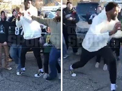 Philadelphia 76ers' Joel Embiid Shoves Eagles Fan During Tailgate