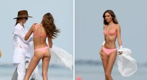 Victoria's Secret Angel Josephine Skriver Looks Fine in Pink Beach Lingerie