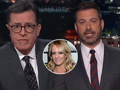 Colbert Nearly BARFS Over Trump's Alleged Tyrst With Porn Star While Kimmel RECREATES It!