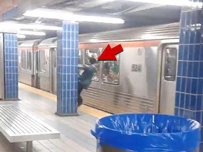 Philadelphia Eagles Fan Slamming into Subway Train, New Angle
