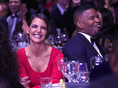 Jamie Foxx and Katie Holmes Tight and Together at Clive Davis Pre-Grammy Party