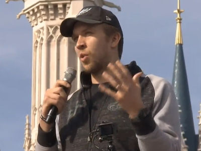 Nick Foles Leads Disney World Parade with Mickey Mouse