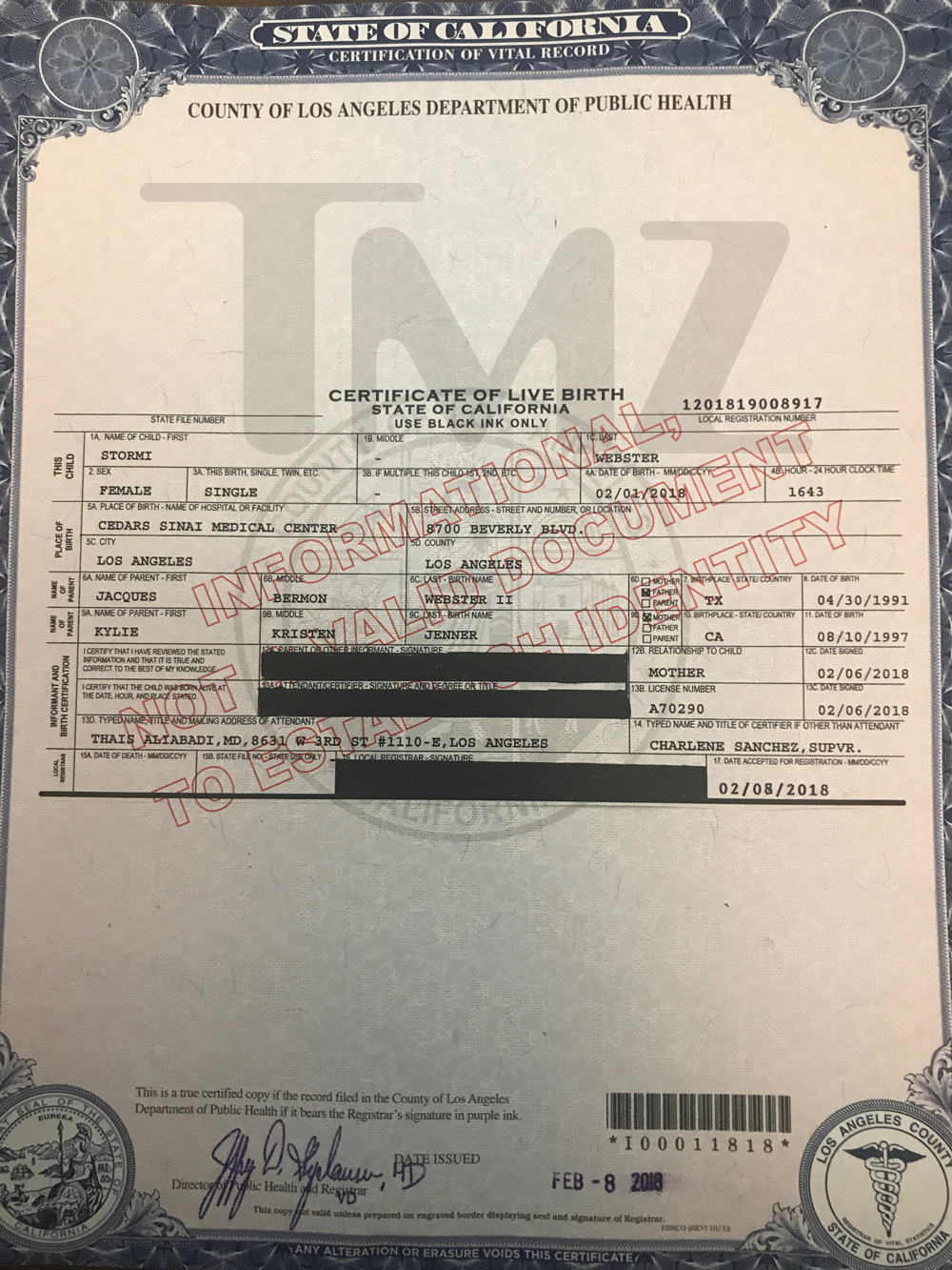 The kardashians tmz kylie jenner and travis scott let the cat out of the bag on stormis first name but now we have more deets from her birth certificate like her full name aiddatafo Images